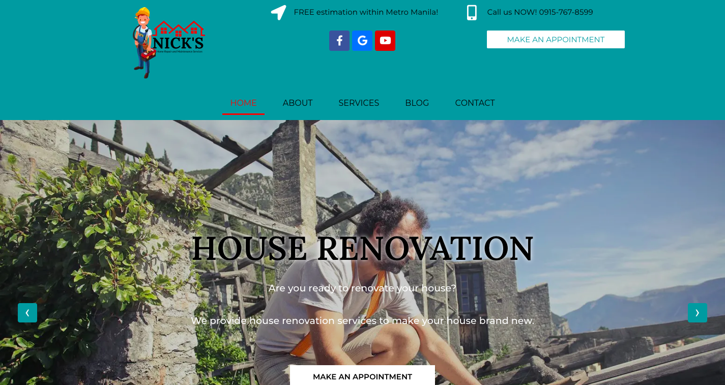 Nick\'s Home Repair Services Website